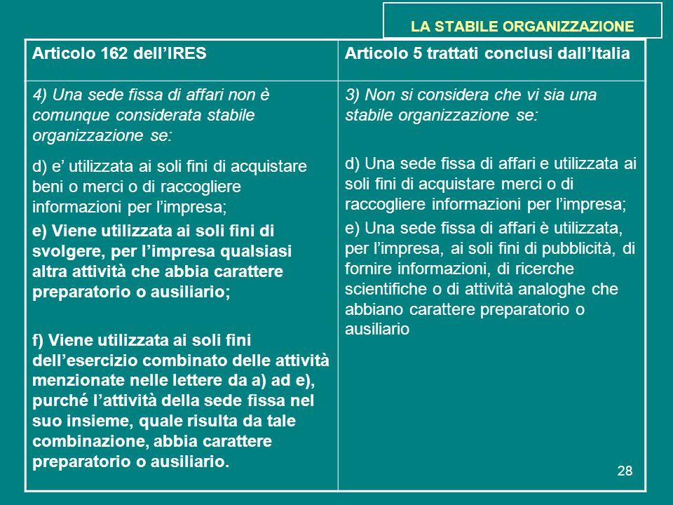 28 LA STABILE ORGANIZZAZIONE Articolo 162 dell'IRESArticolo 5 trattati conclusi dall'Italia 4) Una sede fissa di affari non è comunque considerata sta
