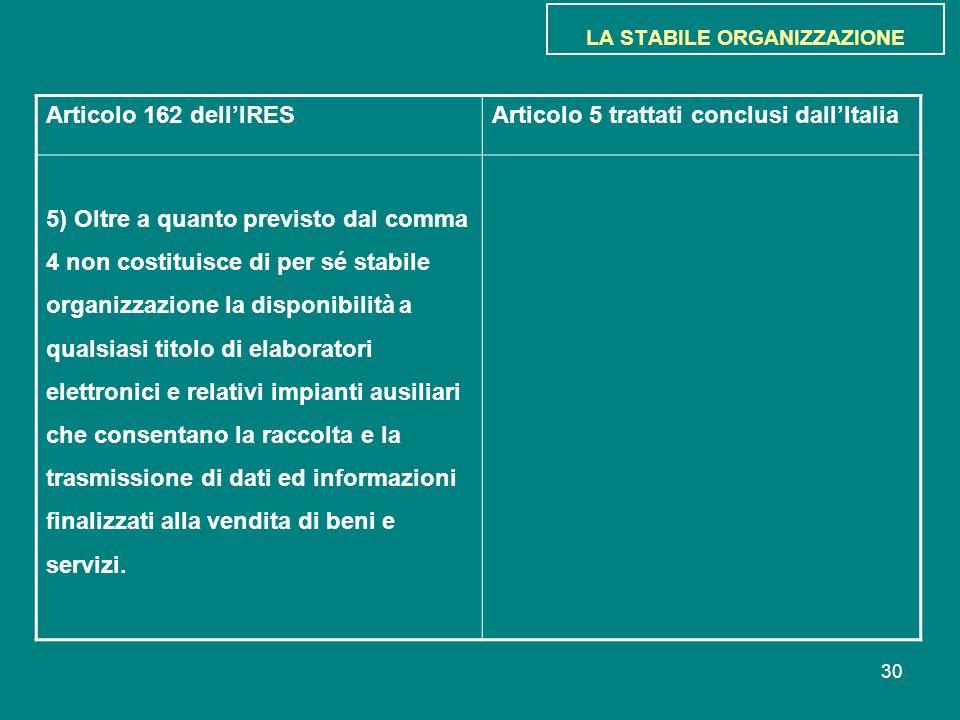 30 LA STABILE ORGANIZZAZIONE Articolo 162 dell'IRESArticolo 5 trattati conclusi dall'Italia 5) Oltre a quanto previsto dal comma 4 non costituisce di