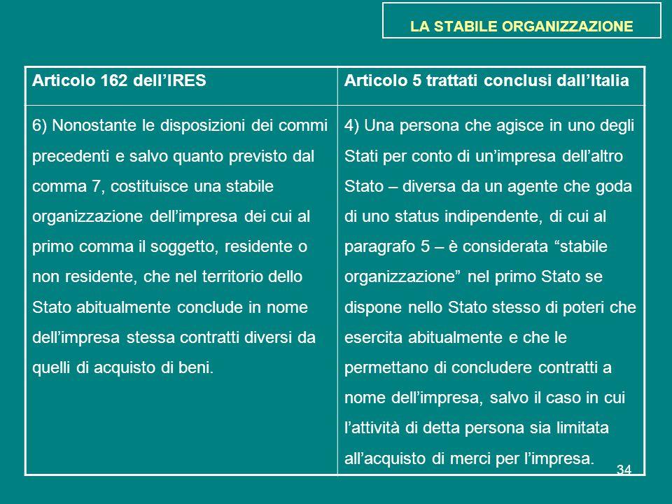34 LA STABILE ORGANIZZAZIONE Articolo 162 dell'IRESArticolo 5 trattati conclusi dall'Italia 6) Nonostante le disposizioni dei commi precedenti e salvo