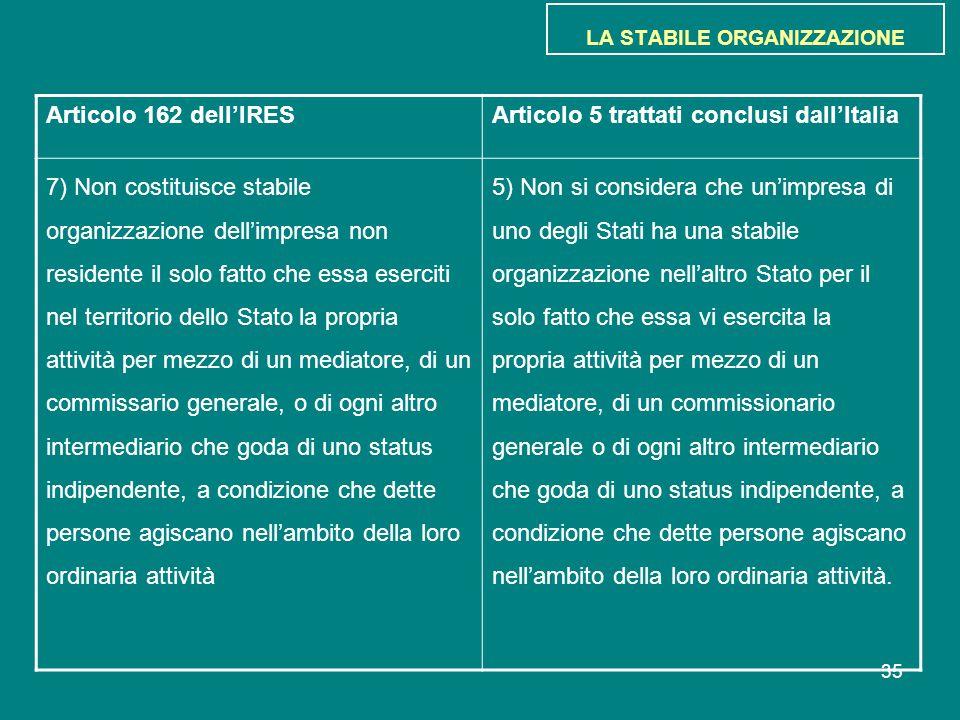 35 LA STABILE ORGANIZZAZIONE Articolo 162 dell'IRESArticolo 5 trattati conclusi dall'Italia 7) Non costituisce stabile organizzazione dell'impresa non