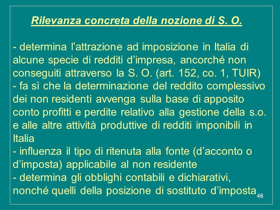 46 Rilevanza concreta della nozione di S. O. - determina l'attrazione ad imposizione in Italia di alcune specie di redditi d'impresa, ancorché non con