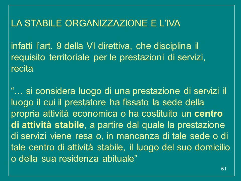 51 LA STABILE ORGANIZZAZIONE E L'IVA infatti l'art. 9 della VI direttiva, che disciplina il requisito territoriale per le prestazioni di servizi, reci