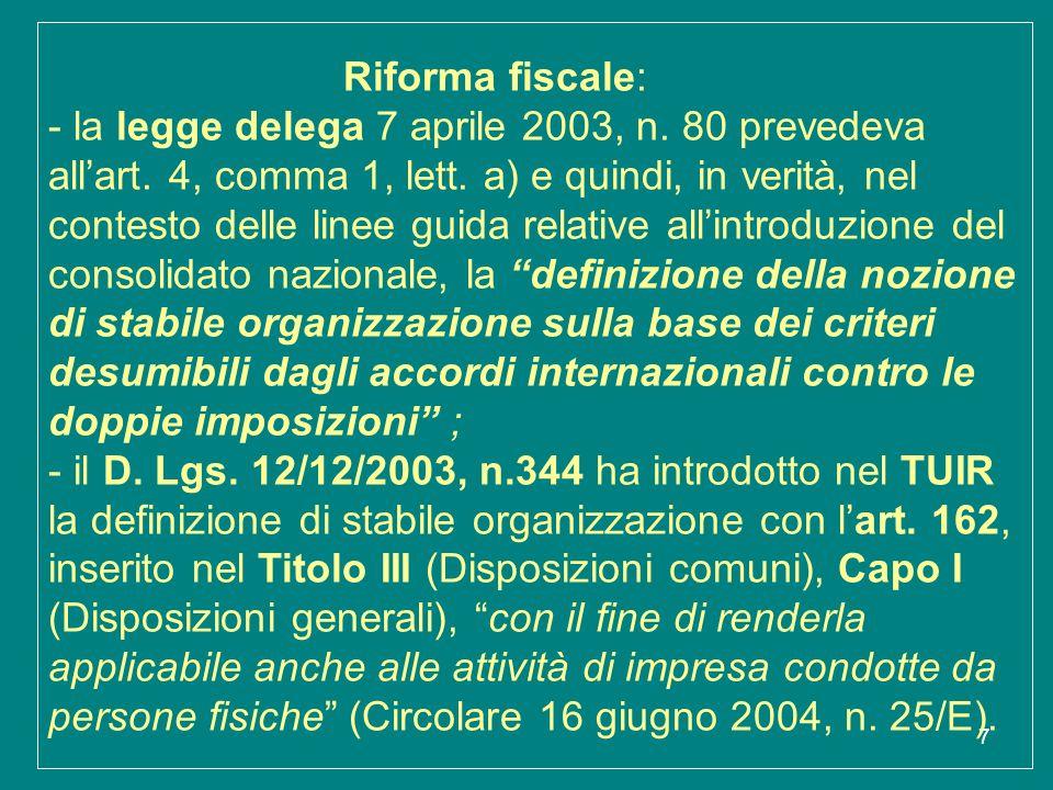 38 LA STABILE ORGANIZZAZIONE Articolo 162 dell'IRESArticolo 5 trattati conclusi dall'Italia 8) Nonostante quanto previsto dal comma precedente, non costituisce stabile organizzazione dell'impresa il solo fatto che la stessa eserciti nel territorio dello Stato la propria attività per mezzo di un raccomandatario marittimo di cui alla legge 4 aprile 1977, n.