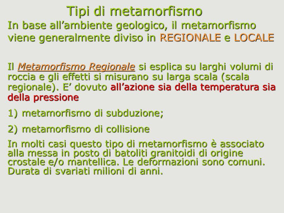 Tipi di metamorfismo In base all'ambiente geologico, il metamorfismo viene generalmente diviso in REGIONALE e LOCALE Il Metamorfismo Regionale si espl