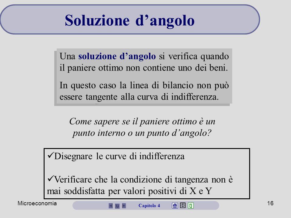 Microeconomia15 Y X U = 200 0 10 20 Y = 20 - X/2 Capitolo 4 Un esempio di ottimo interno