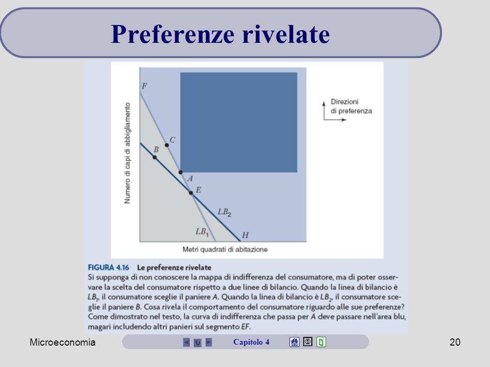 Microeconomia19 Si supponga che le preferenze non siano note. Possiamo dedurle dal comportamento d'acquisto? Se il consumatore, a parità di costo, sce