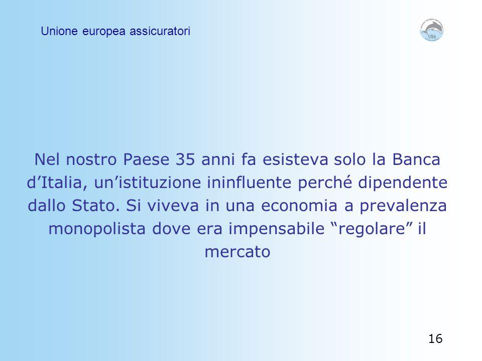 Nel nostro Paese 35 anni fa esisteva solo la Banca d'Italia, un'istituzione ininfluente perché dipendente dallo Stato. Si viveva in una economia a pre