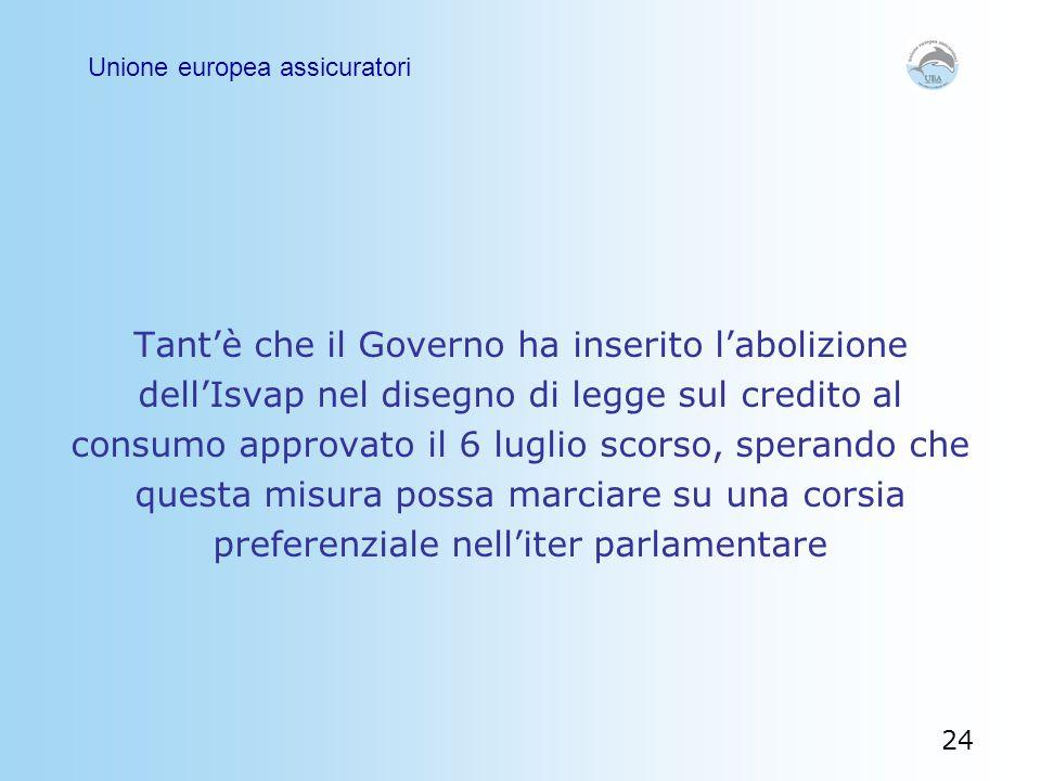 Tant'è che il Governo ha inserito l'abolizione dell'Isvap nel disegno di legge sul credito al consumo approvato il 6 luglio scorso, sperando che quest