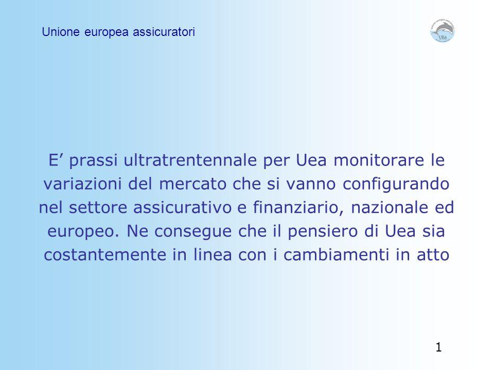 E' prassi ultratrentennale per Uea monitorare le variazioni del mercato che si vanno configurando nel settore assicurativo e finanziario, nazionale ed