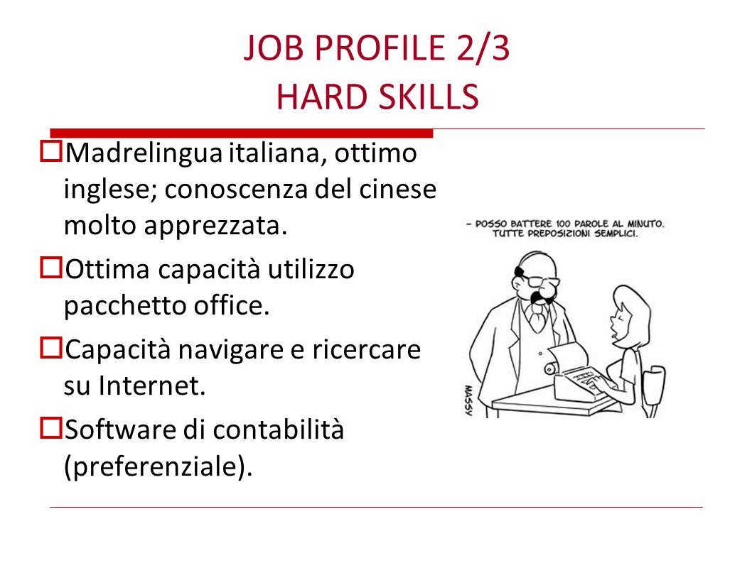 JOB PROFILE 2/3 HARD SKILLS  Madrelingua italiana, ottimo inglese; conoscenza del cinese molto apprezzata.  Ottima capacità utilizzo pacchetto offic