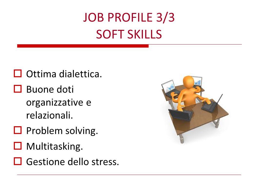 JOB PROFILE 3/3 SOFT SKILLS  Ottima dialettica.  Buone doti organizzative e relazionali.  Problem solving.  Multitasking.  Gestione dello stress.