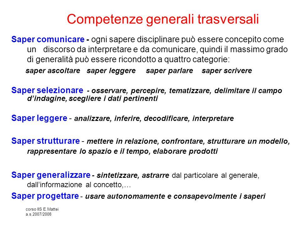 corso IIS E.Mattei a.s.2007/2008 Competenze generali trasversali Saper comunicare - ogni sapere disciplinare può essere concepito come un discorso da