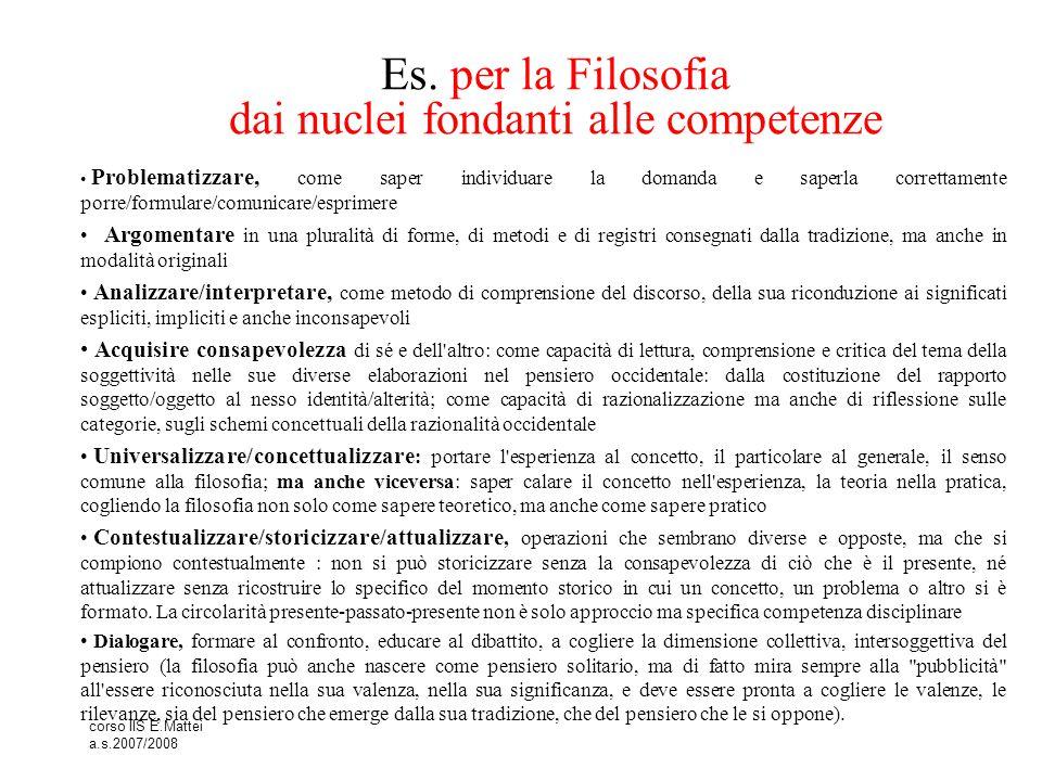 corso IIS E.Mattei a.s.2007/2008 Es. per la Filosofia dai nuclei fondanti alle competenze Problematizzare, come saper individuare la domanda e saperla