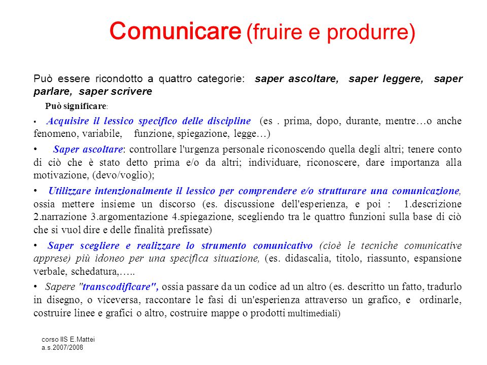 corso IIS E.Mattei a.s.2007/2008 Selezionare