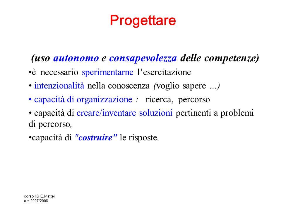 corso IIS E.Mattei a.s.2007/2008 Progettare (uso autonomo e consapevolezza delle competenze) è necessario sperimentarne l'esercitazione intenzionalità