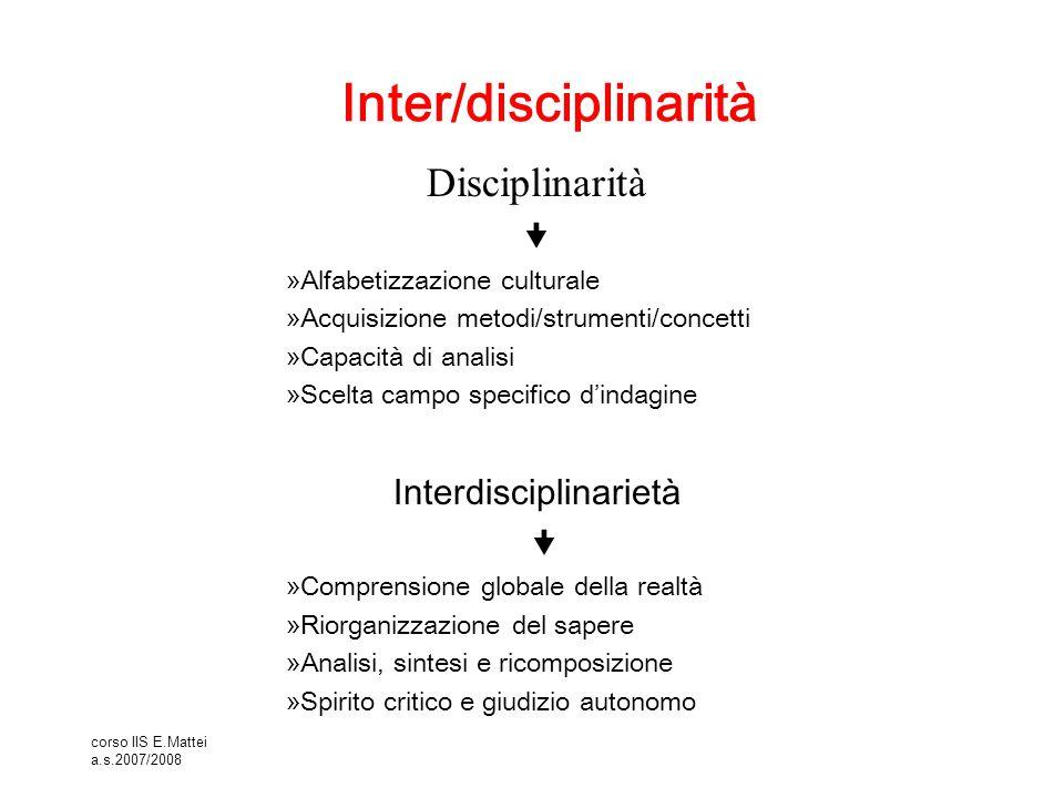 corso IIS E.Mattei a.s.2007/2008 Inter/disciplinarità Disciplinarità  »Alfabetizzazione culturale »Acquisizione metodi/strumenti/concetti »Capacità d