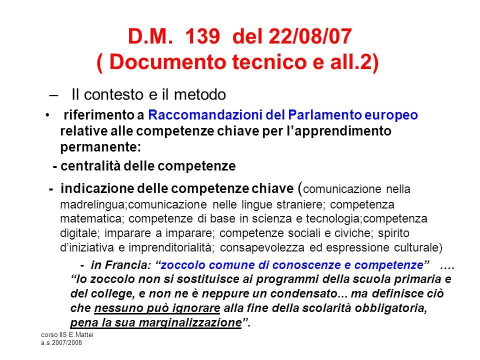 corso IIS E.Mattei a.s.2007/2008 D.M. 139 del 22/08/07 ( Documento tecnico e all.2) – Il contesto e il metodo riferimento a Raccomandazioni del Parlam