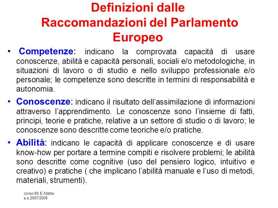 corso IIS E.Mattei a.s.2007/2008 Definizioni dalle Raccomandazioni del Parlamento Europeo Competenze: indicano la comprovata capacità di usare conosce