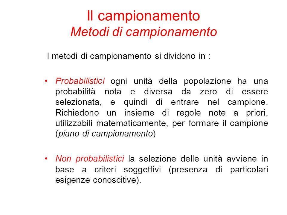 I metodi di campionamento si dividono in : Probabilistici ogni unità della popolazione ha una probabilità nota e diversa da zero di essere selezionata, e quindi di entrare nel campione.