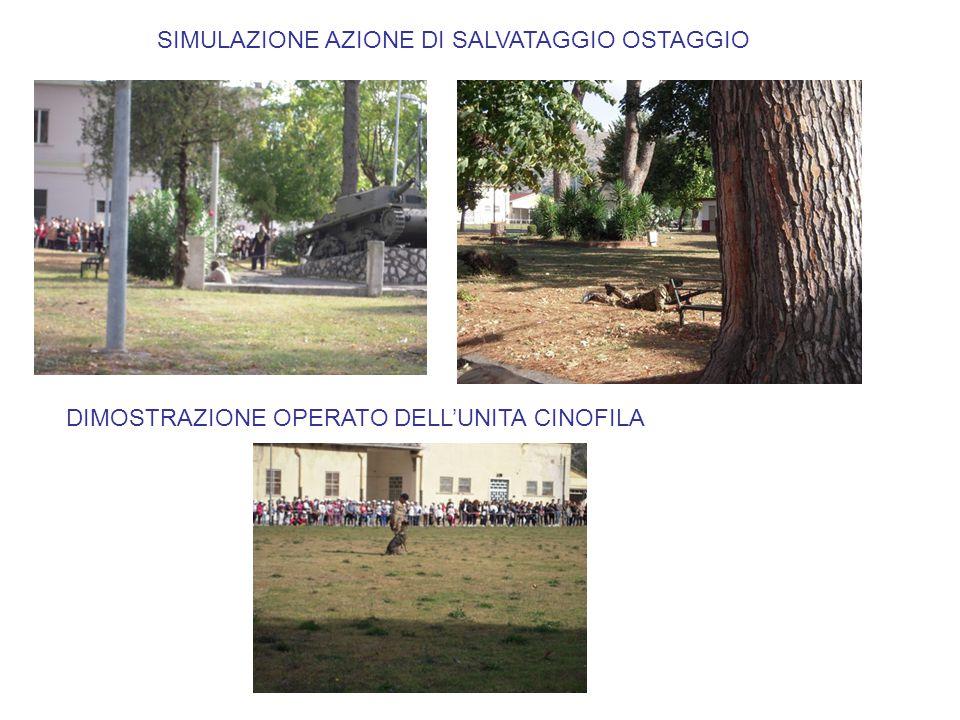 SIMULAZIONE AZIONE DI SALVATAGGIO OSTAGGIO DIMOSTRAZIONE OPERATO DELL'UNITA CINOFILA
