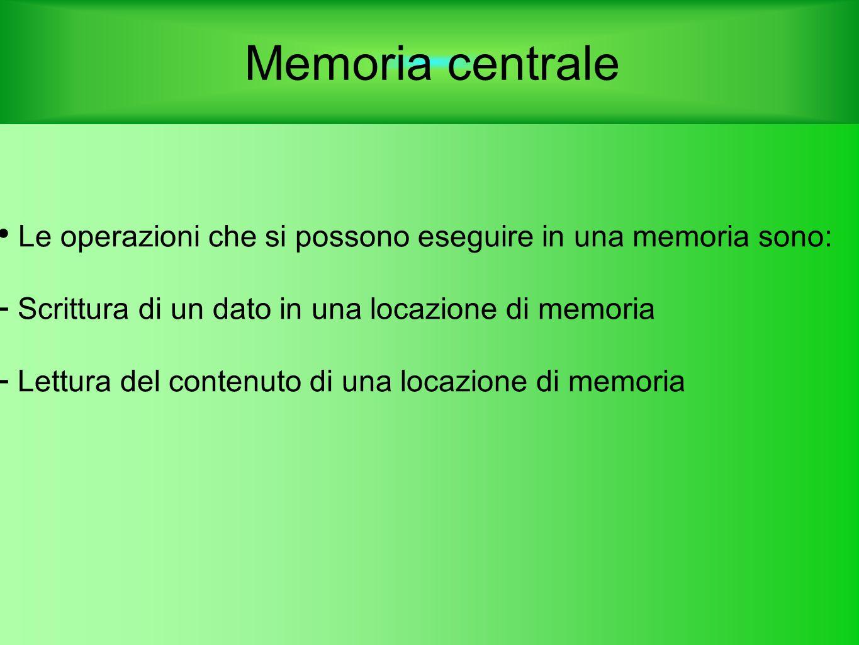 Memoria centrale Le operazioni che si possono eseguire in una memoria sono:  Scrittura di un dato in una locazione di memoria  Lettura del contenuto