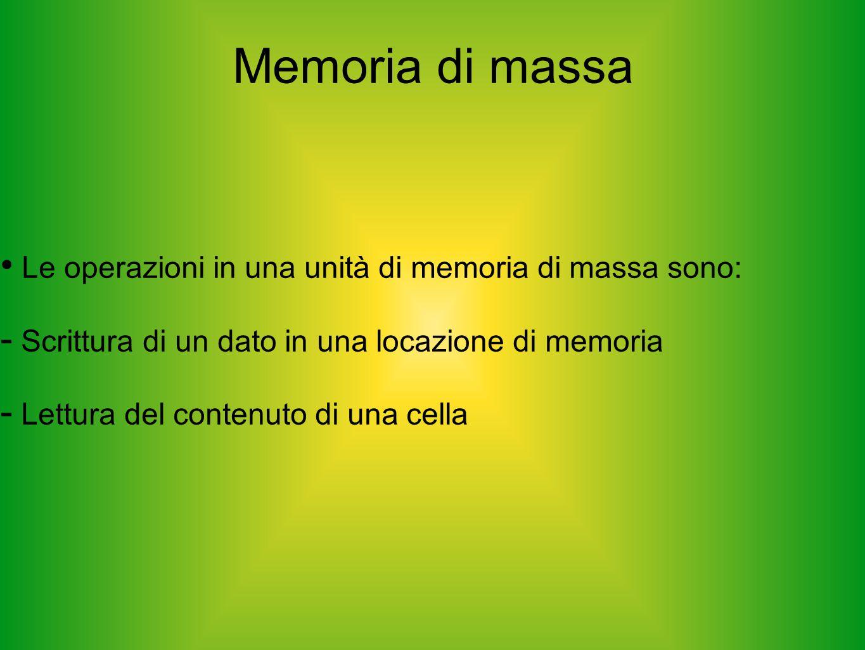 Memoria di massa Le operazioni in una unità di memoria di massa sono:  Scrittura di un dato in una locazione di memoria  Lettura del contenuto di un