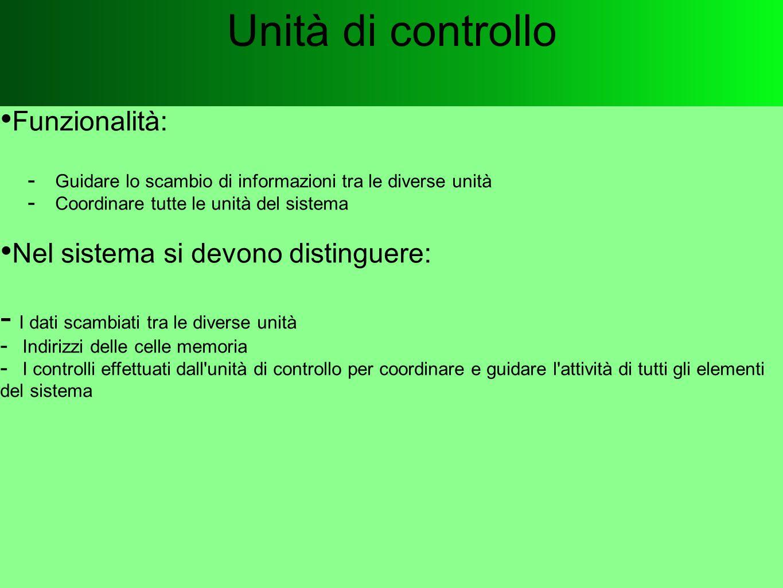 Unità di controllo Funzionalità:  Guidare lo scambio di informazioni tra le diverse unità  Coordinare tutte le unità del sistema Nel sistema si devo