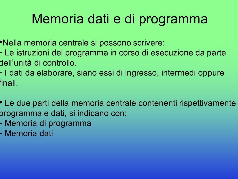 Memoria dati e di programma Nella memoria centrale si possono scrivere:  Le istruzioni del programma in corso di esecuzione da parte dell'unità di co
