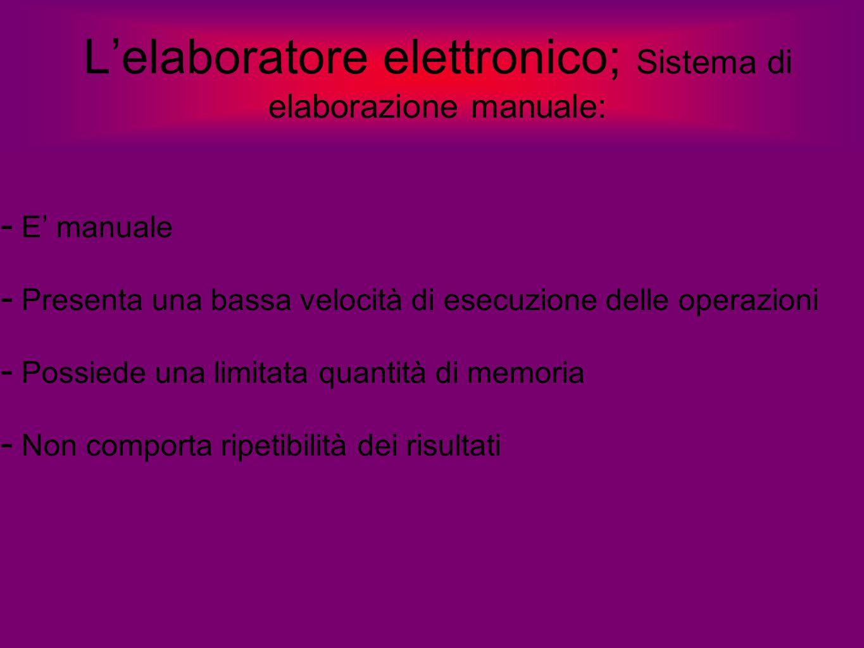 L'elaboratore elettronico; Sistema di elaborazione manuale:  E' manuale  Presenta una bassa velocità di esecuzione delle operazioni  Possiede una l