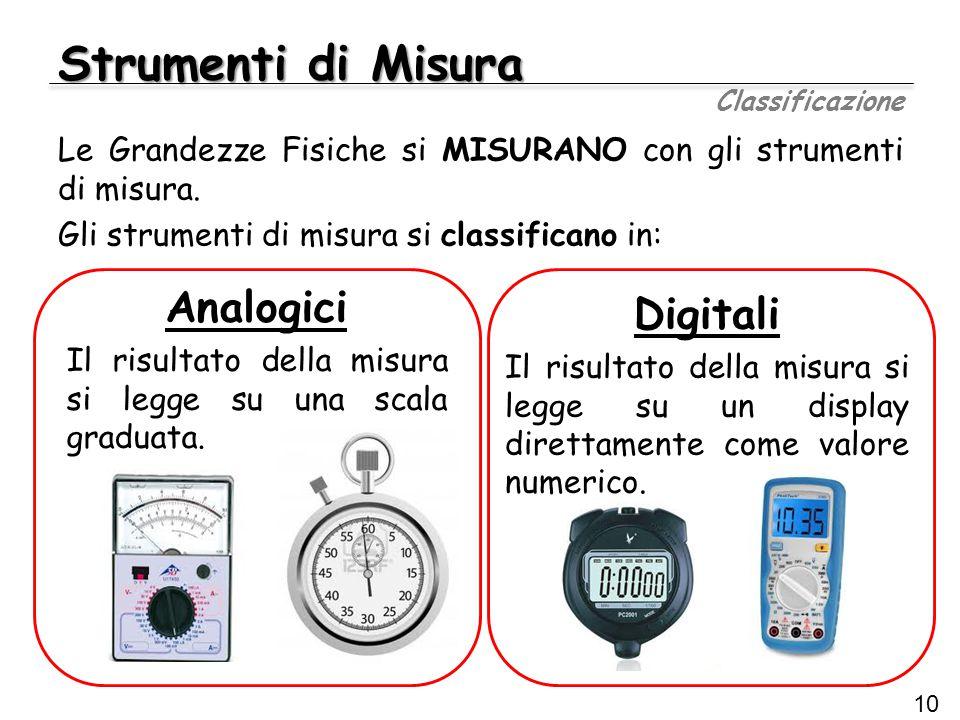 Strumenti di Misura Classificazione 10 Le Grandezze Fisiche si MISURANO con gli strumenti di misura. Gli strumenti di misura si classificano in: Digit
