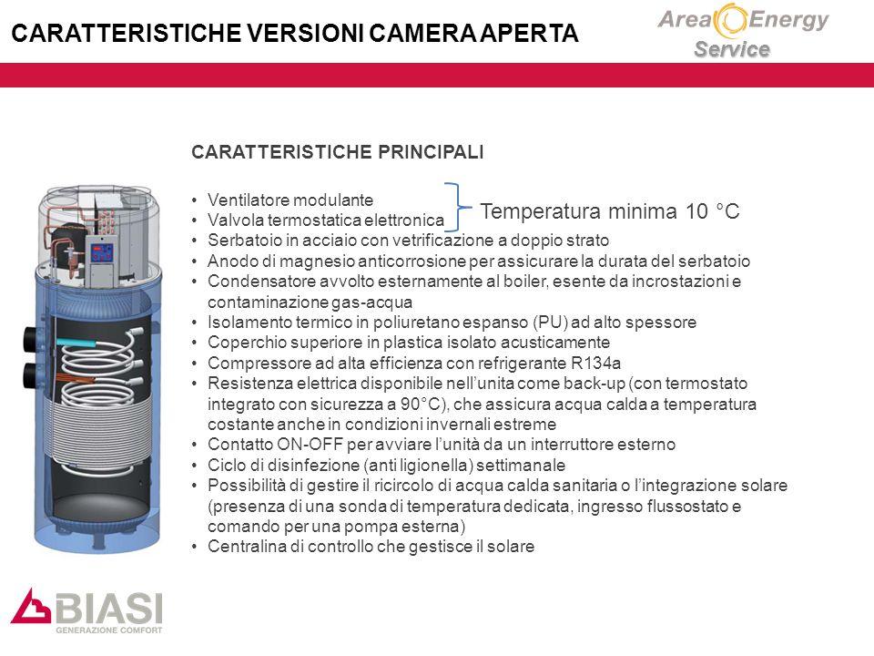 Service CARATTERISTICHE VERSIONI CAMERA APERTA CARATTERISTICHE PRINCIPALI Ventilatore modulante Valvola termostatica elettronica Serbatoio in acciaio con vetrificazione a doppio strato Anodo di magnesio anticorrosione per assicurare la durata del serbatoio Condensatore avvolto esternamente al boiler, esente da incrostazioni e contaminazione gas-acqua Isolamento termico in poliuretano espanso (PU) ad alto spessore Coperchio superiore in plastica isolato acusticamente Compressore ad alta efficienza con refrigerante R134a Resistenza elettrica disponibile nell'unita come back-up (con termostato integrato con sicurezza a 90°C), che assicura acqua calda a temperatura costante anche in condizioni invernali estreme Contatto ON-OFF per avviare l'unità da un interruttore esterno Ciclo di disinfezione (anti ligionella) settimanale Possibilità di gestire il ricircolo di acqua calda sanitaria o l'integrazione solare (presenza di una sonda di temperatura dedicata, ingresso flussostato e comando per una pompa esterna) Centralina di controllo che gestisce il solare Temperatura minima 10 °C