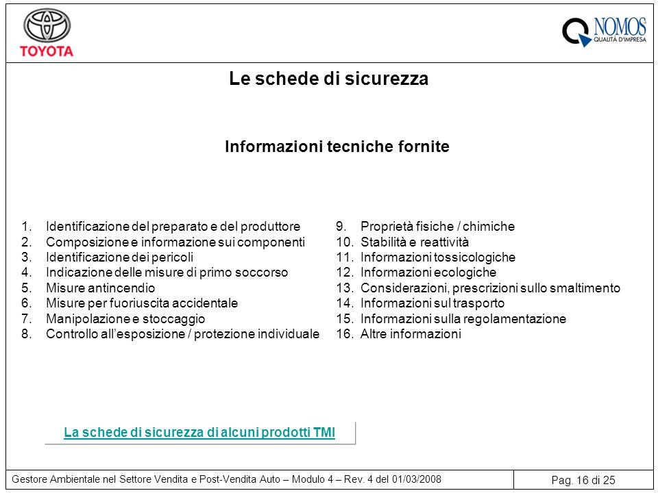 Pag. 16 di 25 Gestore Ambientale nel Settore Vendita e Post-Vendita Auto – Modulo 4 – Rev. 4 del 01/03/2008 1.Identificazione del preparato e del prod