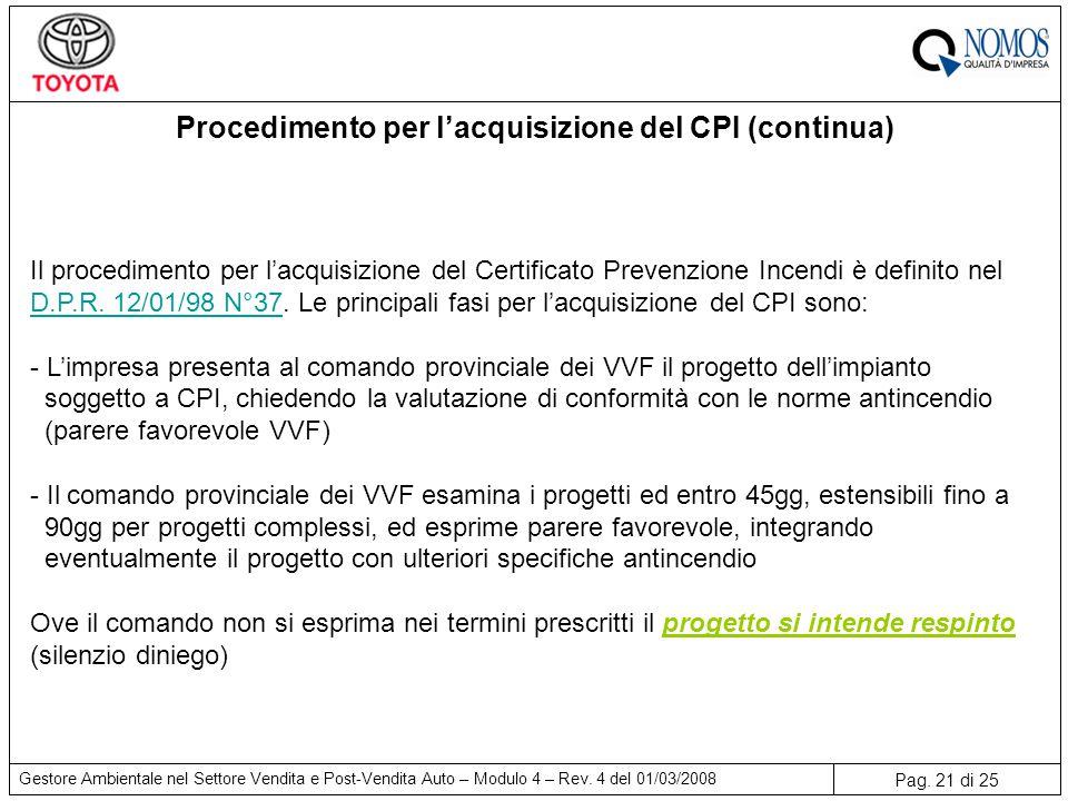 Pag. 21 di 25 Gestore Ambientale nel Settore Vendita e Post-Vendita Auto – Modulo 4 – Rev. 4 del 01/03/2008 Procedimento per l'acquisizione del CPI (c
