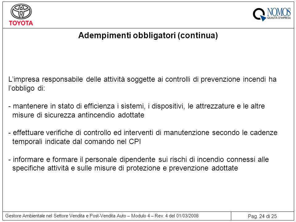 Pag. 24 di 25 Gestore Ambientale nel Settore Vendita e Post-Vendita Auto – Modulo 4 – Rev. 4 del 01/03/2008 Adempimenti obbligatori (continua) L'impre