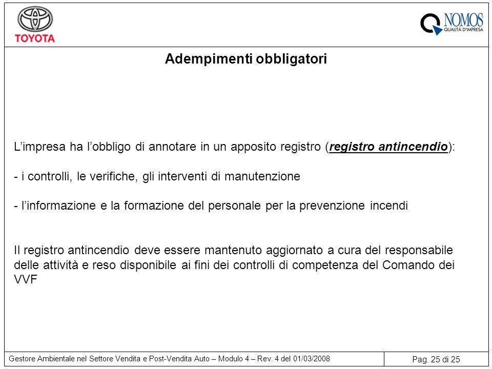 Pag. 25 di 25 Gestore Ambientale nel Settore Vendita e Post-Vendita Auto – Modulo 4 – Rev. 4 del 01/03/2008 Adempimenti obbligatori L'impresa ha l'obb