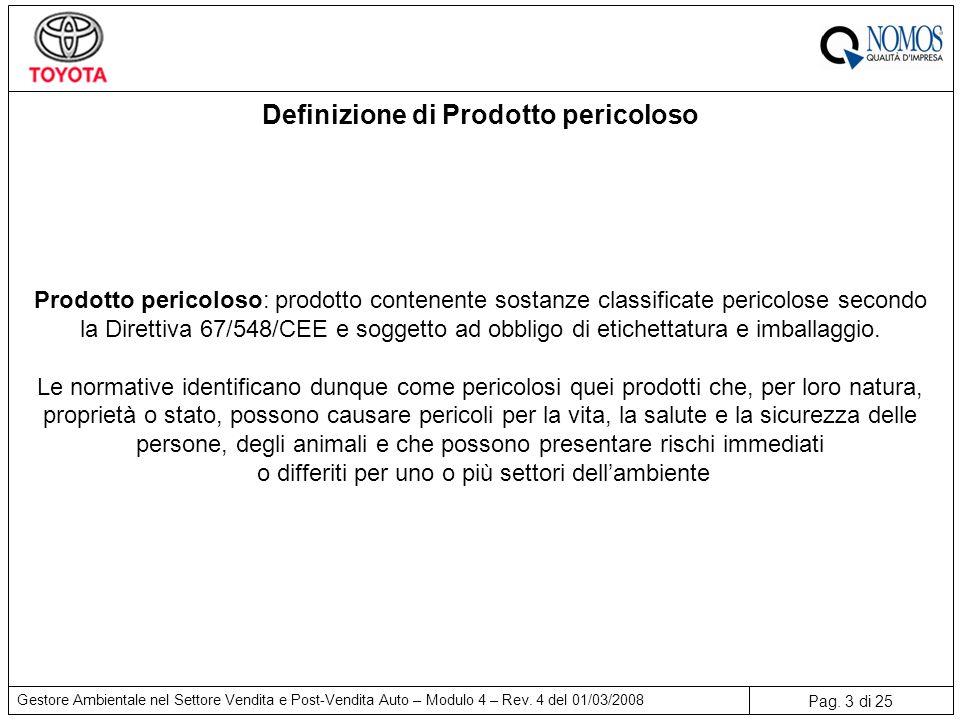 Pag. 3 di 25 Gestore Ambientale nel Settore Vendita e Post-Vendita Auto – Modulo 4 – Rev. 4 del 01/03/2008 Definizione di Prodotto pericoloso Prodotto