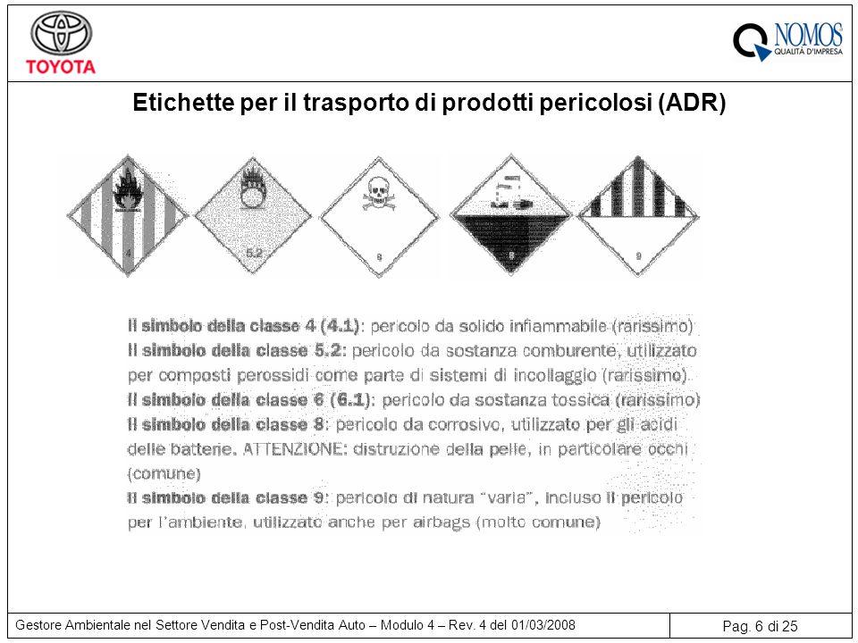 Pag. 6 di 25 Gestore Ambientale nel Settore Vendita e Post-Vendita Auto – Modulo 4 – Rev. 4 del 01/03/2008 Etichette per il trasporto di prodotti peri