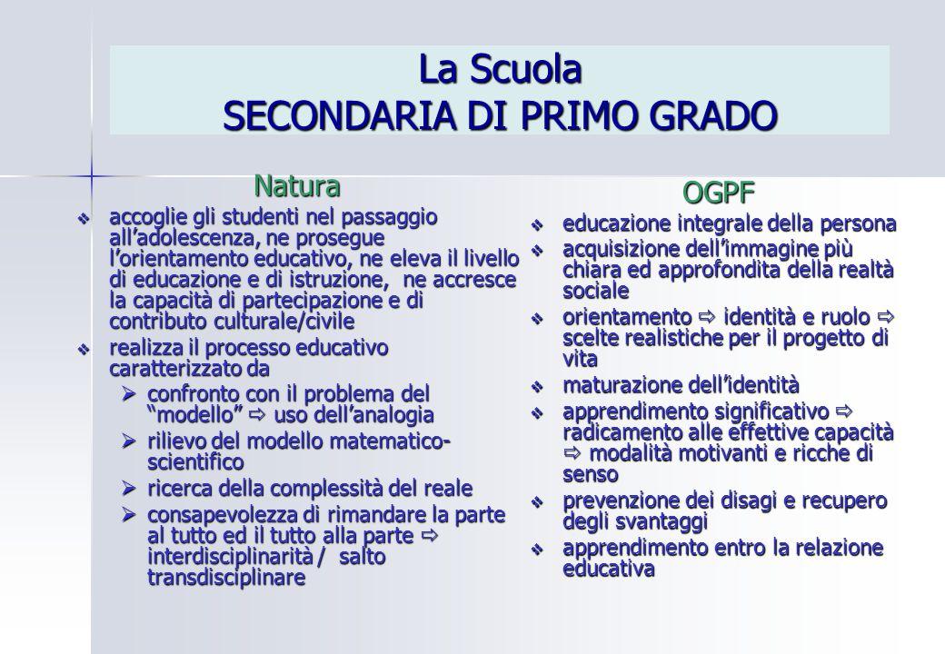 La Scuola SECONDARIA DI PRIMO GRADO Natura  accoglie gli studenti nel passaggio all'adolescenza, ne prosegue l'orientamento educativo, ne eleva il li