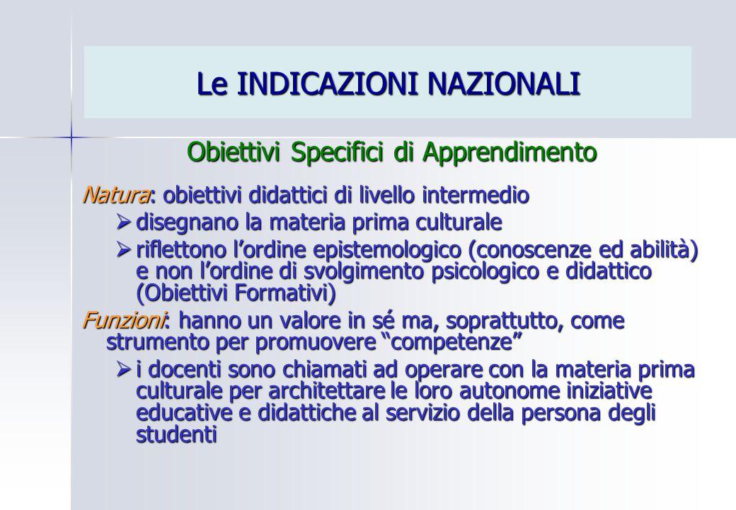 Le INDICAZIONI NAZIONALI Obiettivi Specifici di Apprendimento Natura: obiettivi didattici di livello intermedio  disegnano la materia prima culturale