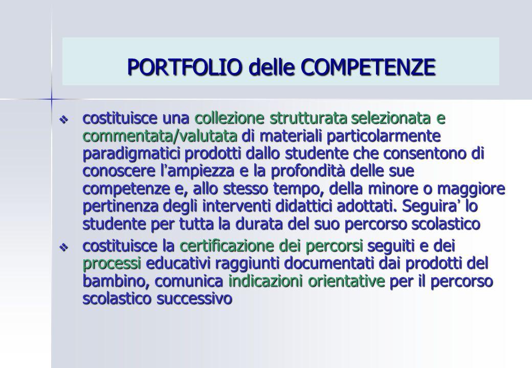 PORTFOLIO delle COMPETENZE  costituisce una collezione strutturata selezionata e commentata/valutata di materiali particolarmente paradigmatici prodo