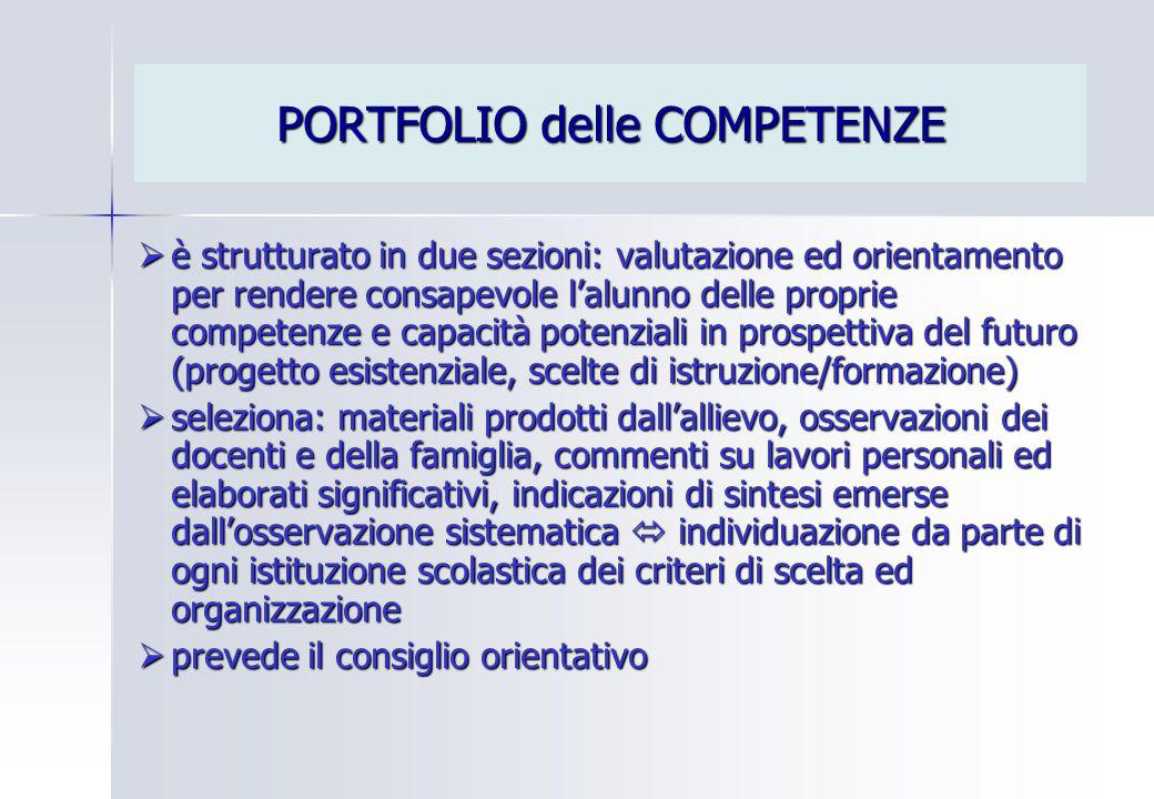 PORTFOLIO delle COMPETENZE  è strutturato in due sezioni: valutazione ed orientamento per rendere consapevole l'alunno delle proprie competenze e cap