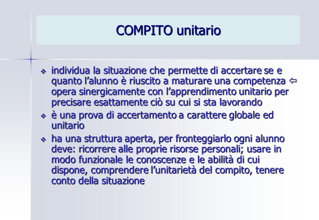 COMPITO unitario  individua la situazione che permette di accertare se e quanto l'alunno è riuscito a maturare una competenza  opera sinergicamente