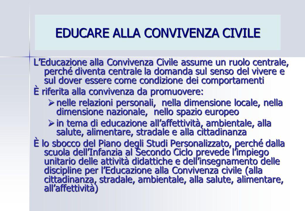 EDUCARE ALLA CONVIVENZA CIVILE L'Educazione alla Convivenza Civile assume un ruolo centrale, perché diventa centrale la domanda sul senso del vivere e