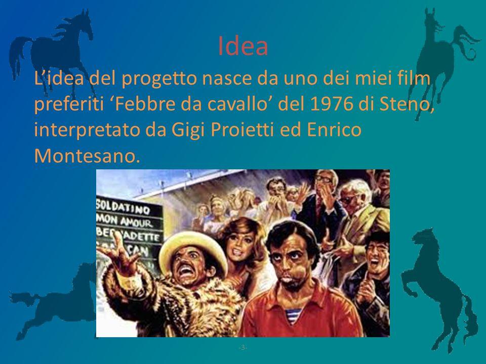 Idea L'idea del progetto nasce da uno dei miei film preferiti 'Febbre da cavallo' del 1976 di Steno, interpretato da Gigi Proietti ed Enrico Montesano.