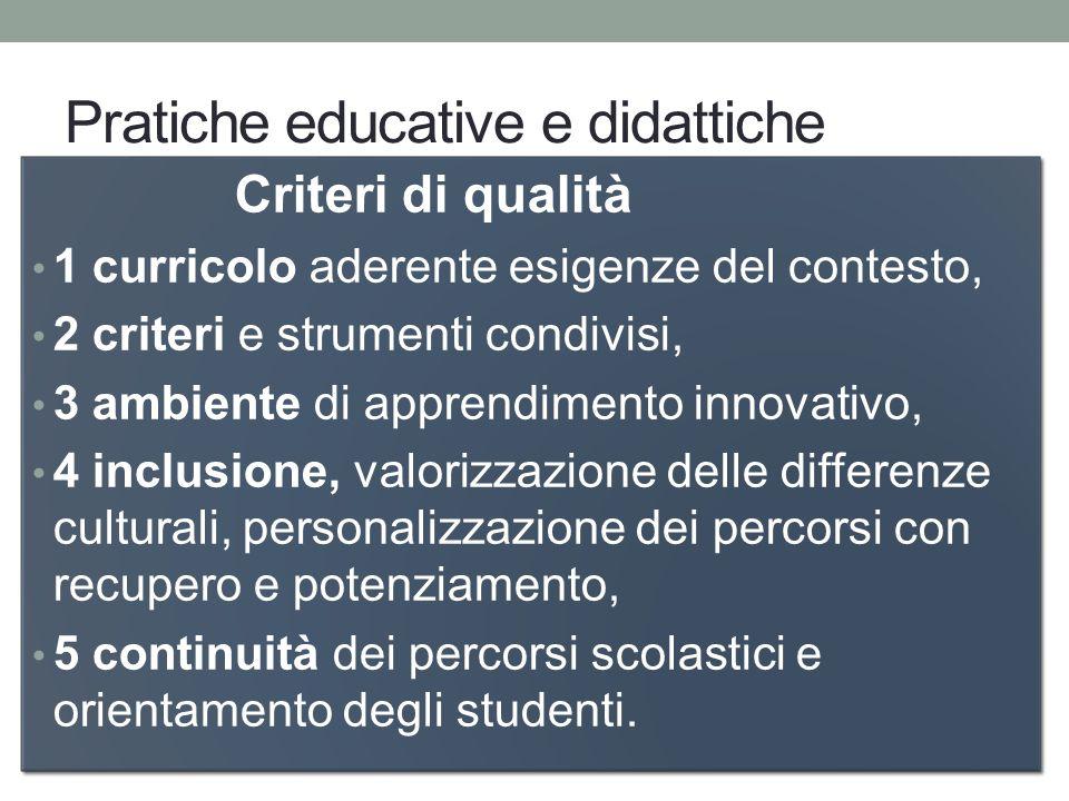 Pratiche educative e didattiche Criteri di qualità 1 curricolo aderente esigenze del contesto, 2 criteri e strumenti condivisi, 3 ambiente di apprendi