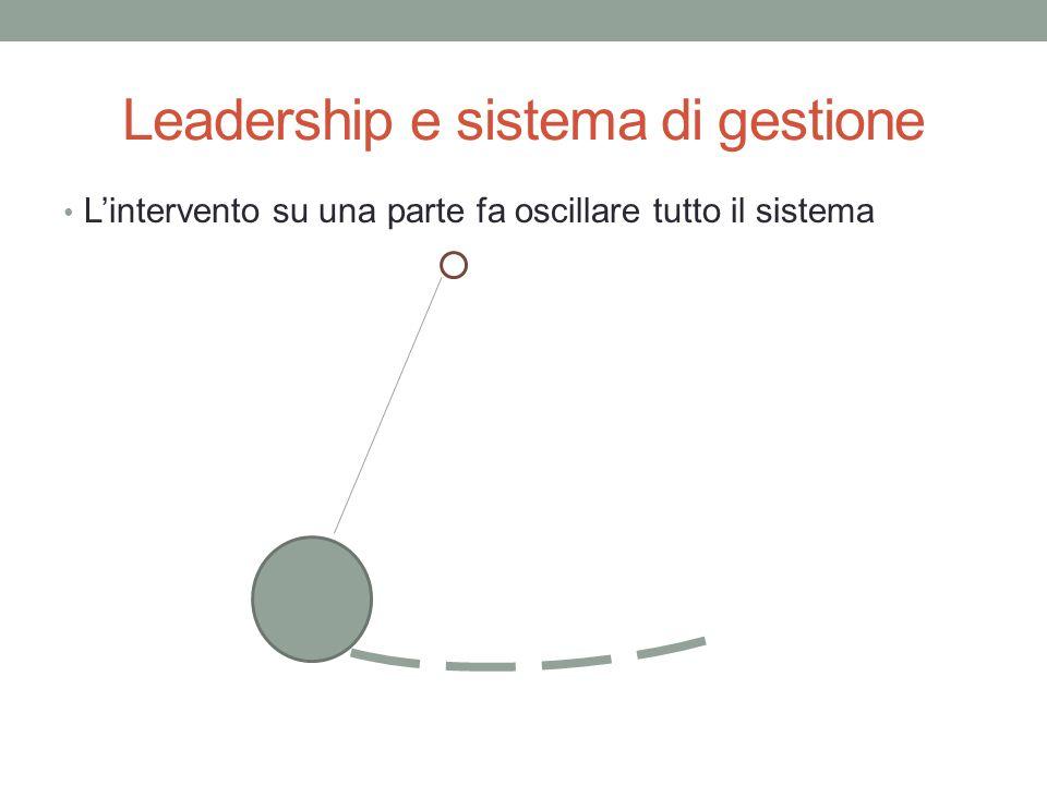 Leadership e sistema di gestione L'intervento su una parte fa oscillare tutto il sistema