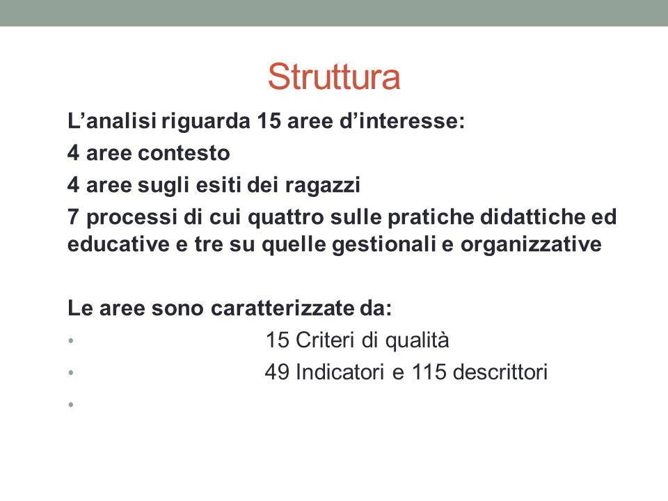 Struttura L'analisi riguarda 15 aree d'interesse: 4 aree contesto 4 aree sugli esiti dei ragazzi 7 processi di cui quattro sulle pratiche didattiche e