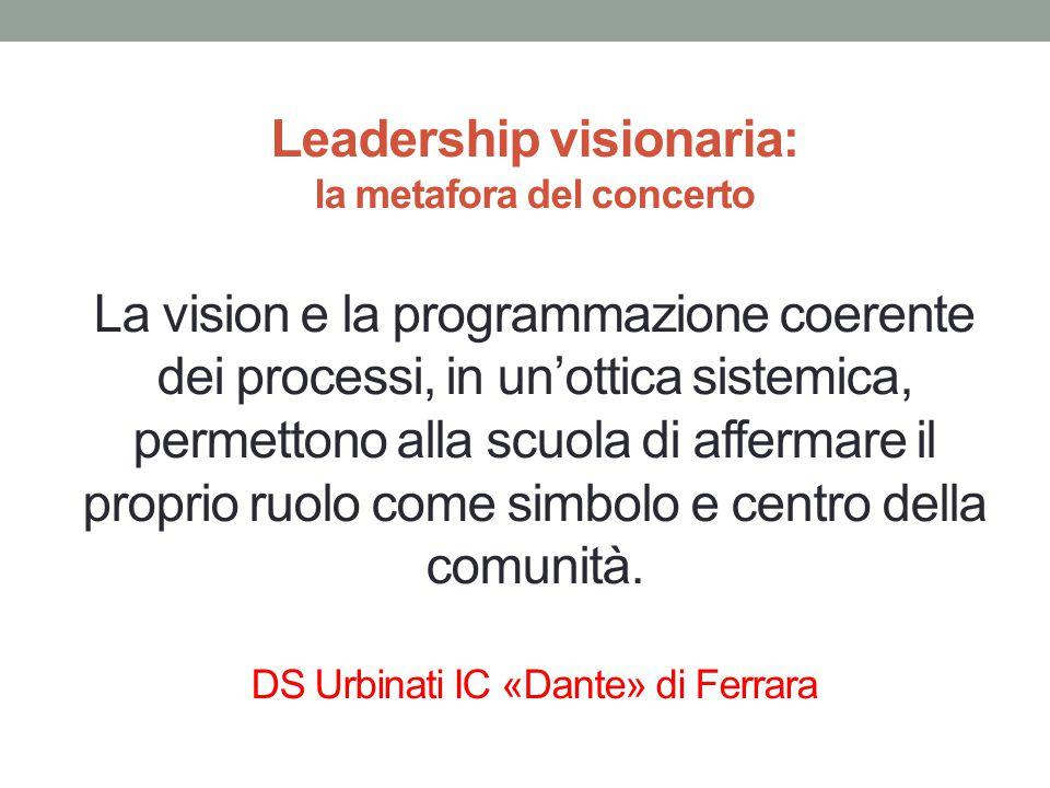 Leadership visionaria: la metafora del concerto La vision e la programmazione coerente dei processi, in un'ottica sistemica, permettono alla scuola di