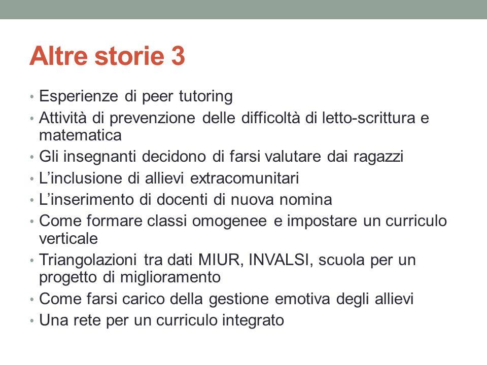 Altre storie 3 Esperienze di peer tutoring Attività di prevenzione delle difficoltà di letto-scrittura e matematica Gli insegnanti decidono di farsi v