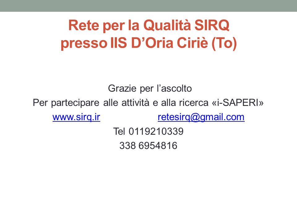 Rete per la Qualità SIRQ presso IIS D'Oria Ciriè (To) Grazie per l'ascolto Per partecipare alle attività e alla ricerca «i-SAPERI» www.sirq.irwww.sirq